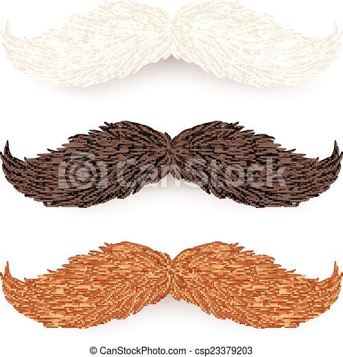 Blancos, marrones y rojos bigotes aislados - csp23379203