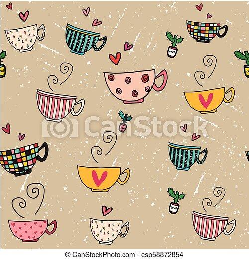 marrón, conjunto de café, grunge, garabato, seamless, mano, diseños, plano de fondo, tazas, dibujo, diferente - csp58872854
