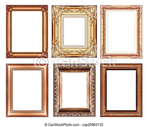 Un marco marrón vintage con espacio en blanco - csp20963133