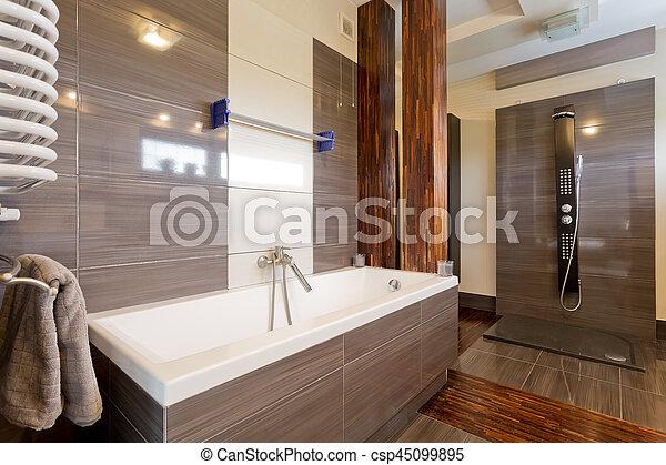 Marrón, cuarto de baño, moderno, bañera. Marrón, cuarto de baño ...