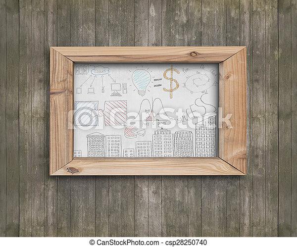 Encuadre de madera con conceptos de negocios garabatos de madera marrón - csp28250740