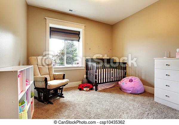 Marrón, enfermería, madera, crib., nena, habitación. Marrón ...