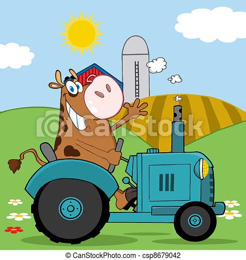 Feliz granjero de vacas marrones - csp8679042