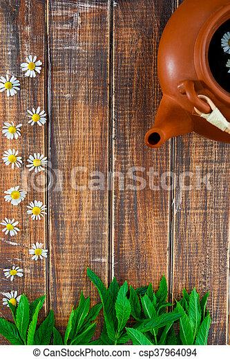 Marrón, flor, camomila, marco, de madera, té, cima, space., tetera ...