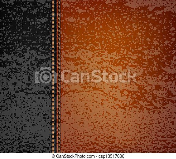 Fondo de cuero negro con tira de cuero marrón. Ilustración de vectores. - csp13517036