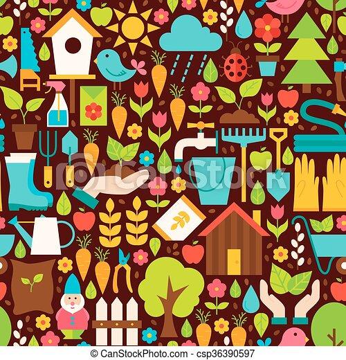 Vector de jardín de primavera diseño plano patrón marrón sin costura - csp36390597