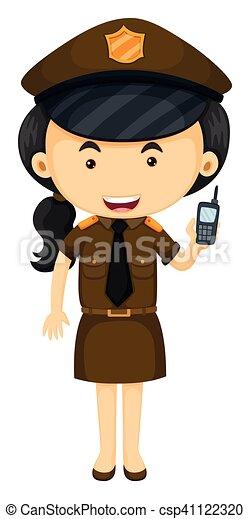 Policía con uniforme marrón - csp41122320
