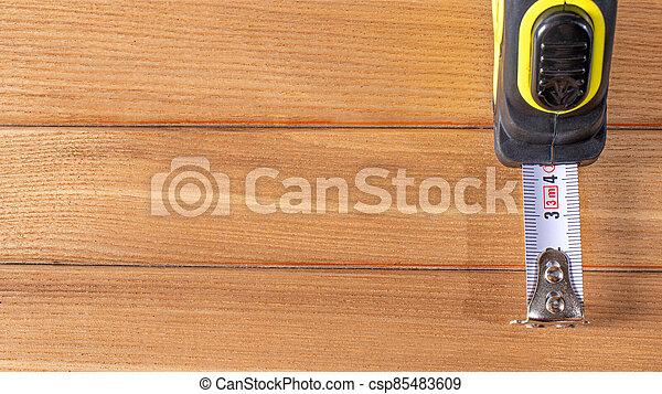 marrón, números, medición, bandera, tools., texto, cinta, construcción, lugar, madera, centímetros, fondo. - csp85483609