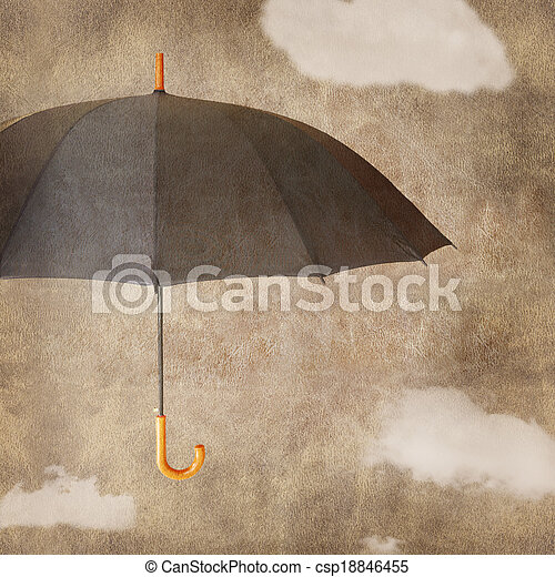 Un paraguas divertido en el fondo marrón y gruñona con nubes - csp18846455