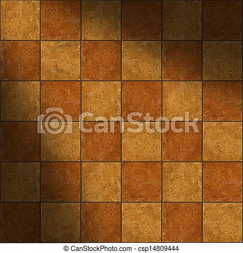 Sección de azulejos de cerámica de dos toneladas de piedra marrón iluminados diagonalmente - csp14809444