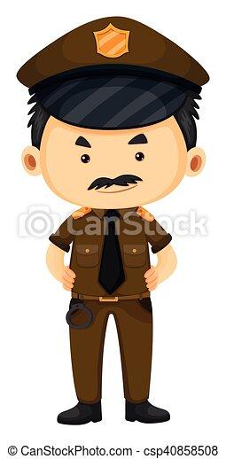 Policía con uniforme marrón - csp40858508