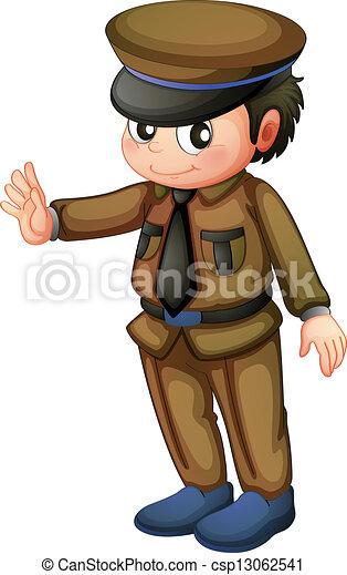 Un policía con uniforme marrón - csp13062541