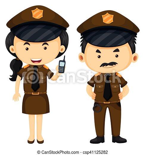 Policías con uniforme marrón - csp41125282