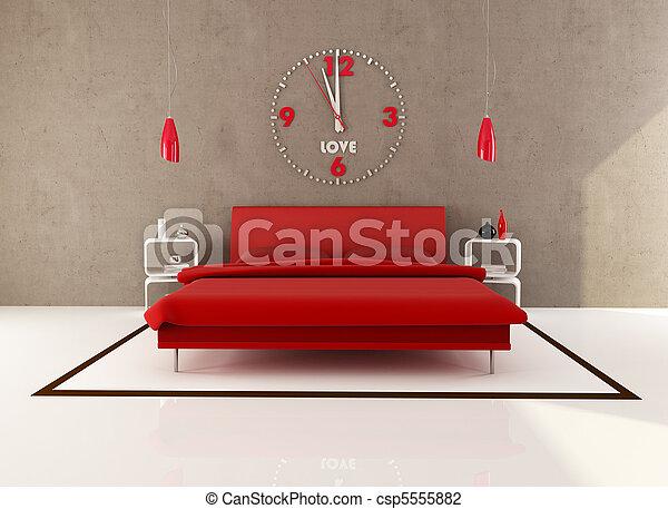 El dormitorio rojo y marrón - csp5555882