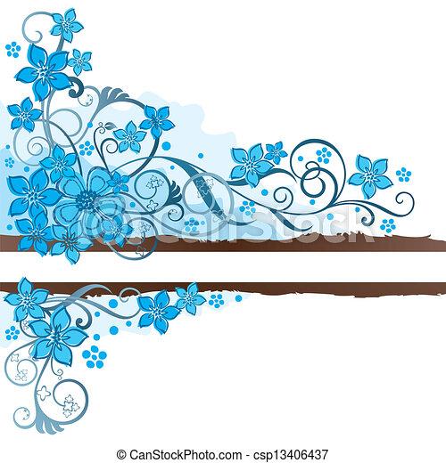 Pancarta marrón y flores turquesas - csp13406437