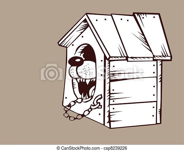 Perro en perrera de fondo marrón, ilustración vectora - csp8239226