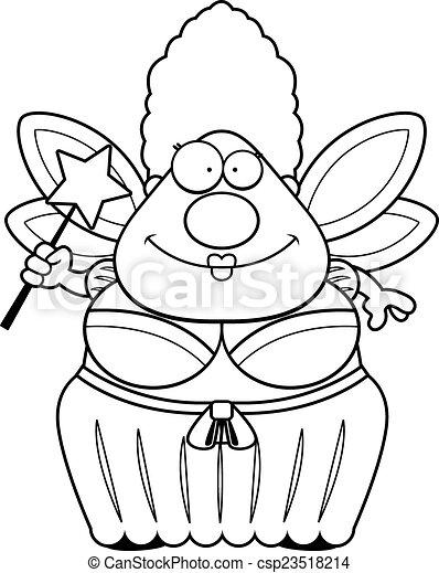 marraine gâteau, dessin animé - csp23518214