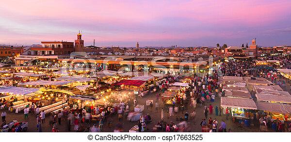 Jamaa el fna, marrakesh, morocco. - csp17663525
