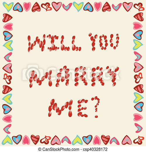 Marriage Proposal From Petals Of Roses On A Yellow Background In