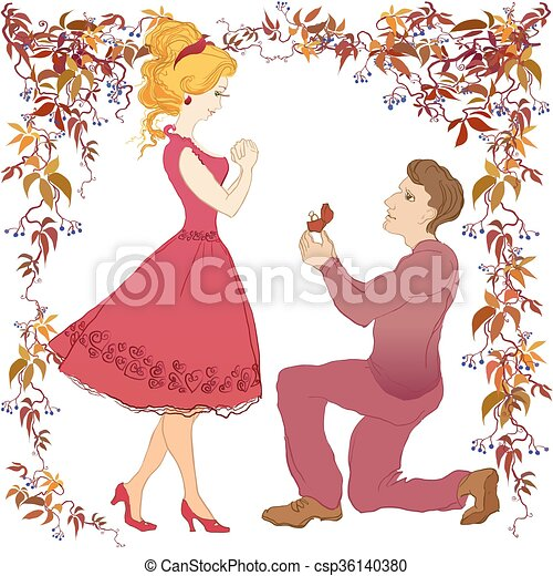 Marriage proposal illustration. - csp36140380