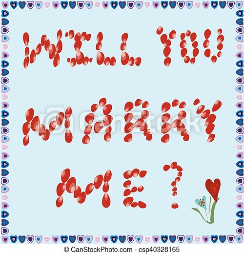Marriage Proposal Of Rose Petals On A Blue Background Text Will You