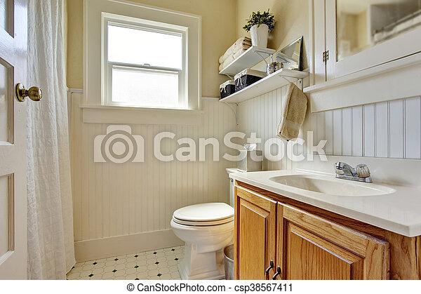 Marrom Banheiro Madeira Gabinete Cremoso Cores Desenho Janela Pequeno
