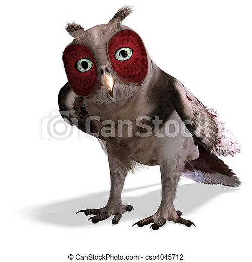 marrom, cortando, fantasia, sobre, owl., fazendo, caminho, sombra, branca, 3d - csp4045712