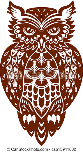 marrom, coruja - csp15941602