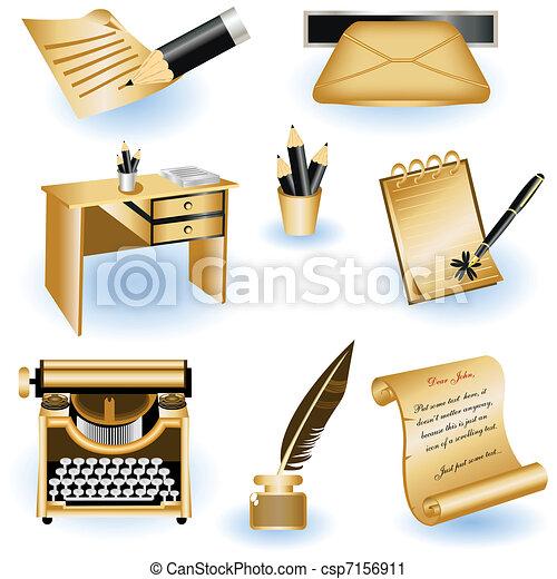 marrom, escrita, ícones - csp7156911