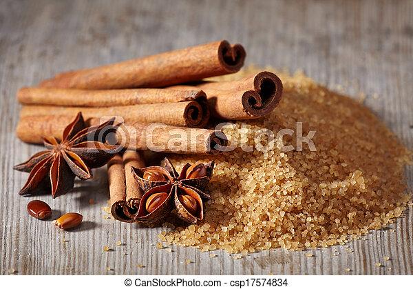 marrom, estrela, varas, anis, açúcar, canela - csp17574834
