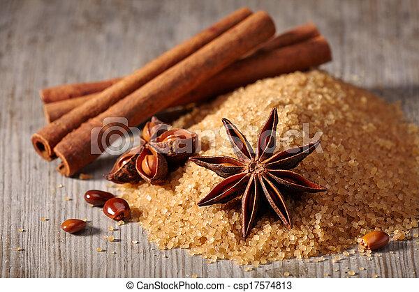 marrom, estrela, varas, anis, açúcar, canela - csp17574813
