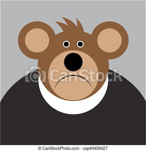 marrom grande urso triste caricatura orelhas marrom camisa