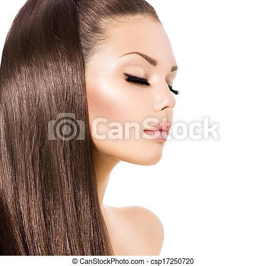 marrom, moda, beleza, saudável, cabelo longo, modelo, menina - csp17250720