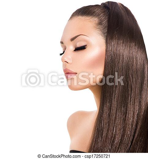 marrom, moda, beleza, saudável, cabelo longo, modelo, menina - csp17250721