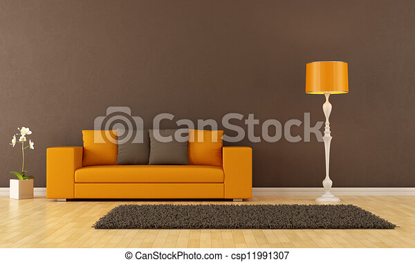 marrom, sala, vivendo - csp11991307
