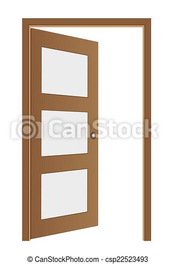 marrom, vetorial, aberta, porta - csp22523493