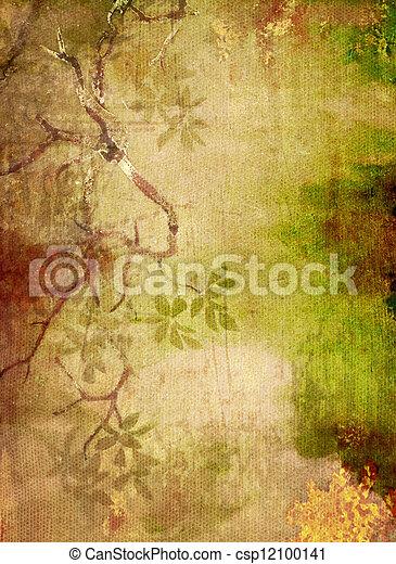 marrone, astratto, giallo, modelli, sfondo verde, textured, floreale, fondale - csp12100141