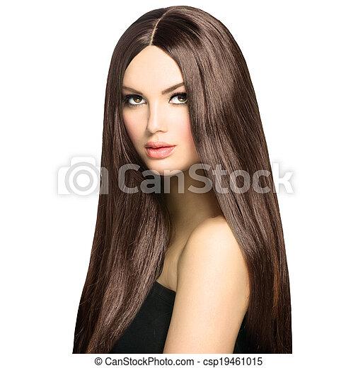 marrone, donna, bellezza, sano, liscio, capelli lunghi, baluginante - csp19461015