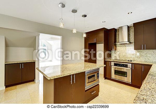 marrone, gabinetto, stanza, trim., moderno, metallina, granito, cucina - csp22339699