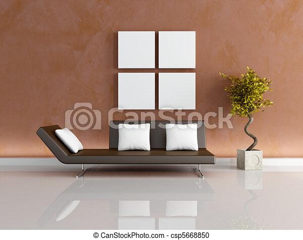 Marrone, soggiorno, moderno. Marrone, cuscini, parete, -, su, divano ...