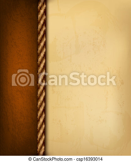 marrone, vecchio, illustration., vendemmia, leather., carta, vettore, fondo - csp16393014