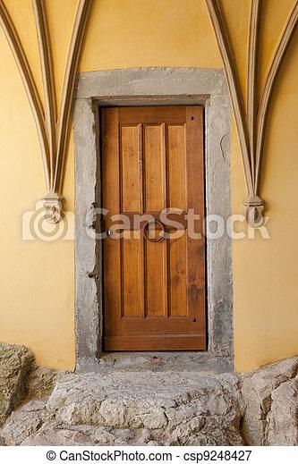 marrone, vecchio, porta - csp9248427