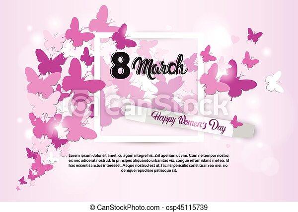 mars, salutation, 8, international, jour, carte, femmes - csp45115739