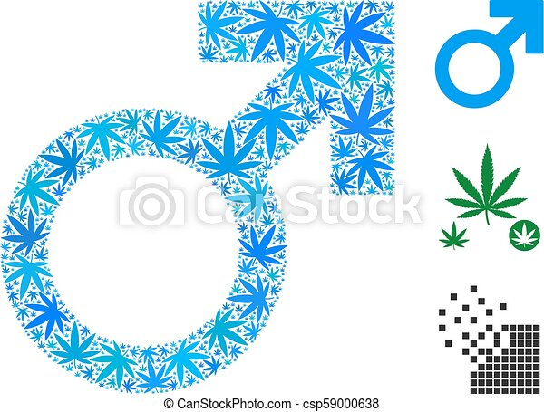 Mars Symbol Composition Of Marijuana Mars Symbol Collage Of Weed