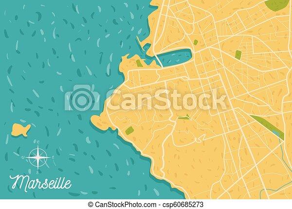 Marseille On Map Of France.Marseille City Vector Map Illustration France Seaside Marseille
