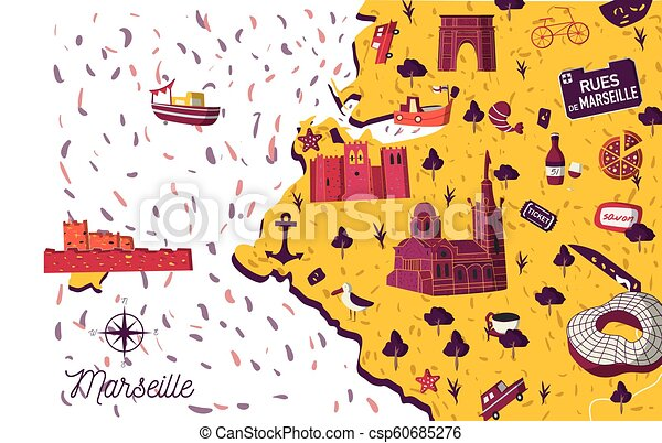 Marseille On Map Of France.Marseille City Vector Map Illustration
