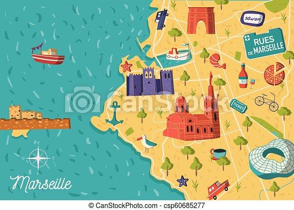 Map Of France Cartoon.Marseille City Vector Map Illustration Cartoon Style France