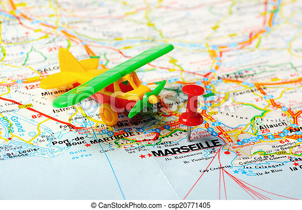Marseille On Map Of France.Marseille France Map Airplane Red Push Pin Pointing At Marseille
