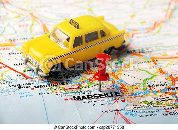 Marsella Francia Mapa Un Alfiler Rojo Apuntando A Marsella Un
