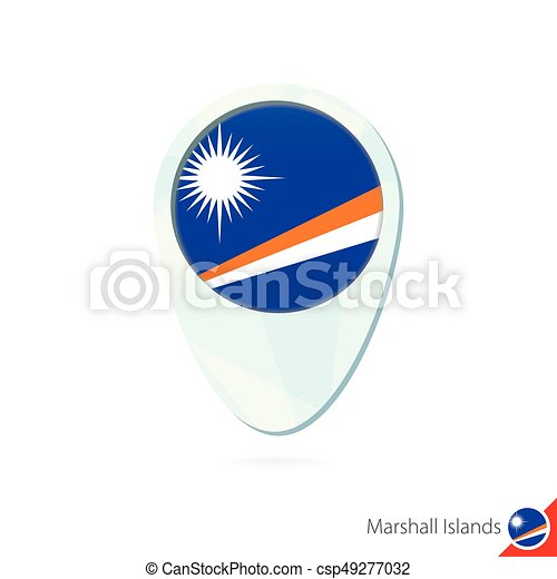 Marshall islands flag location map pin icon on white vectors